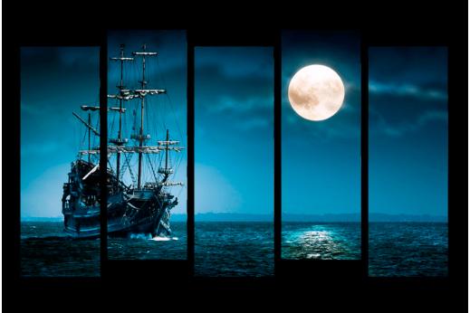 Модульная картина Парусник и луна